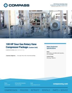 100 HP Sour Gas Rotary Vane Compressor Package (Custom Unit)