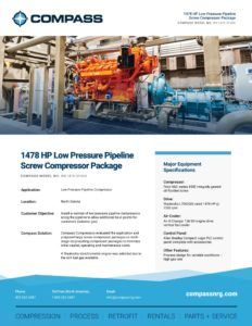 1478 HP Low Pressure Pipeline Screw Compressor Package