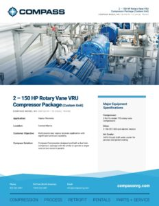 2 - 150 HP Rotary Vane VRU Compressor Package (Custom Unit)