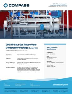200 HP Sour Gas Rotary Vane Compressor Package (Custom Unit)