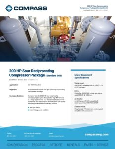 200 HP Sour Reciprocating Compressor Package (Standard Unit)