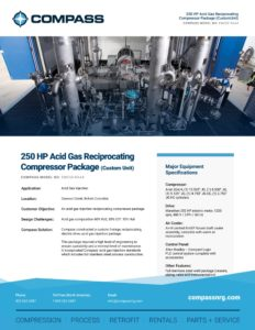250 HP Acid Gas Reciprocating Compressor Package (Custom Unit)