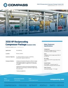 3550 HP Reciprocating Compressor Package (Custom Unit)