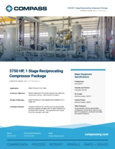 3750 HP, 1 Stage Reciprocating Compressor Package