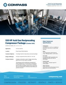 550 HP Acid Gas Reciprocating Compressor Package (Custom Unit)