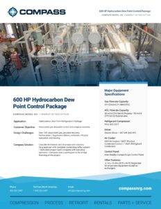600 HP Hydrocarbon Dew Point Control Package