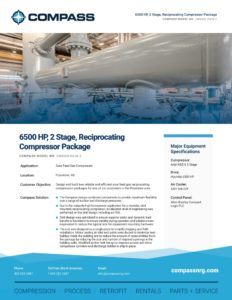 6500 HP, 2 Stage, Reciprocating Compressor Package