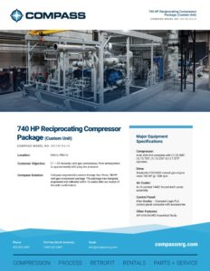 740 HP Reciprocating Compressor Package (Custom Unit)