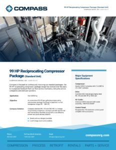 99 HP Reciprocating Compressor Package (Standard Unit)