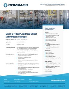 Unit # C-1033P Acid Gas Glycol Dehydration Package