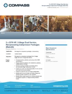 C-1047RF1, Retrofit, (2) X 2370 HP, 2 Stage Dual Service, Reciprocating Compressor Package - Photo for website