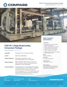 US-2003-01 - 2500 HP, 3 Stage Reciprocating Compressor Package